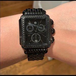 Michele Deco Noir Diamond Watch